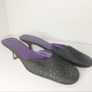 A. MARINELLI DENIUM MULE WITH SILVER ACCENT SZ 8.5
